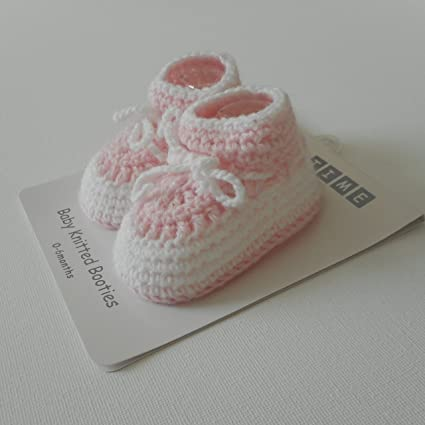 Paire De Chaussons Booties Rose Blanc Tricot Bebe Fille