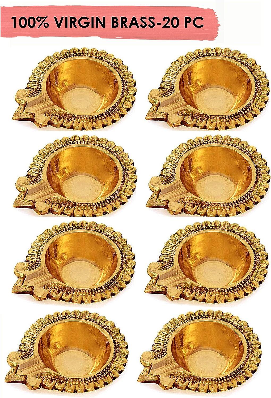 100% Pure Virgin Brass Diwali Diya Indian Pooja Oil Lamp - Golden Engraved Design 2.8 Inch. Deepawali Diya/Tea Light Holder/Christmas Decoration. Traditional Oil Lamp (20PC).Indian Gift Items