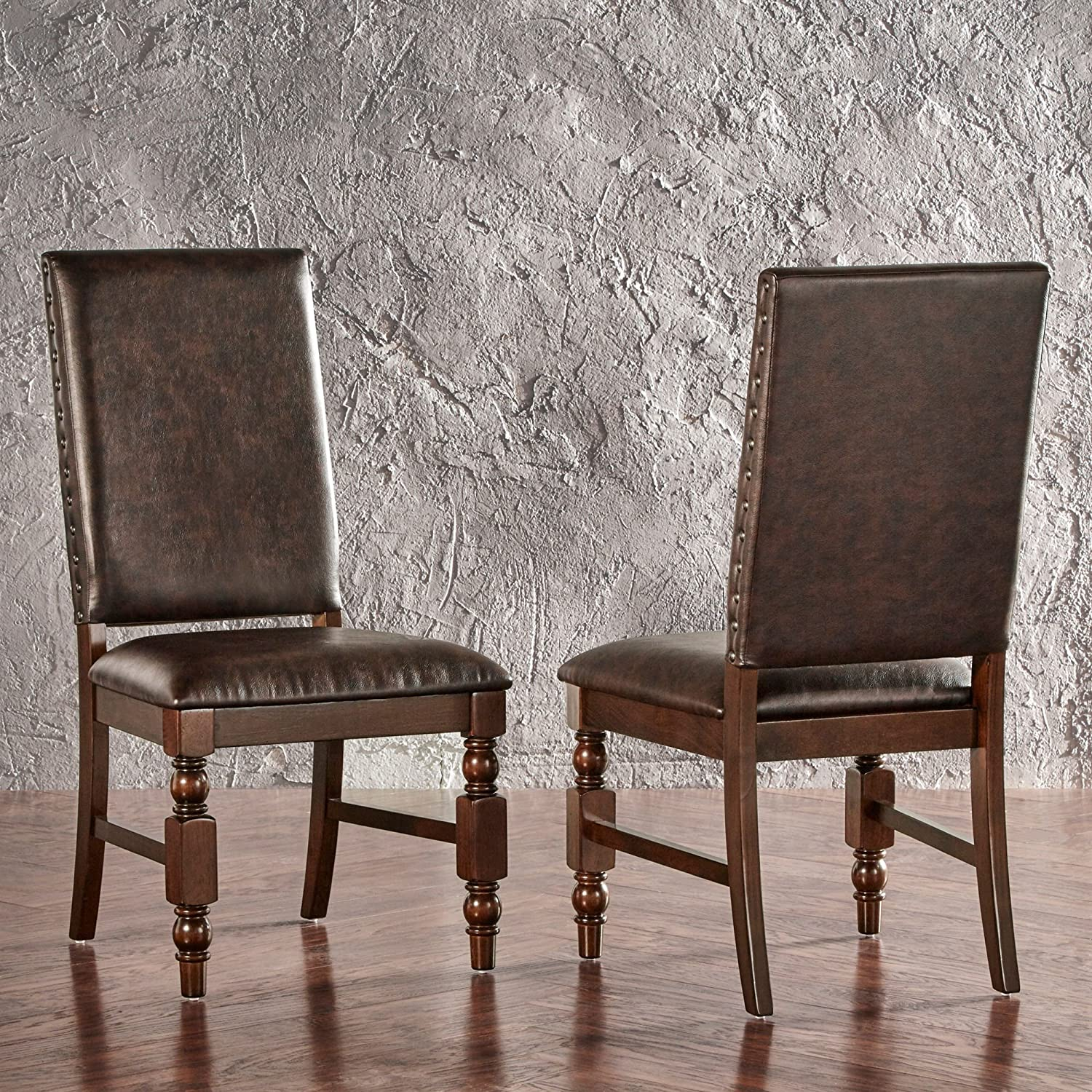 Superb Modhaus Living Modern Rustic Upholstered Accent Dining Chairs With Nailhead And Wood Legs Set Of 2 Includes Pen Brown Pu Uwap Interior Chair Design Uwaporg