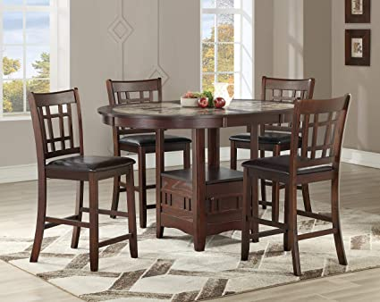 Amazon.com - GTU Furniture 5-Piece Wood Counter Height ...