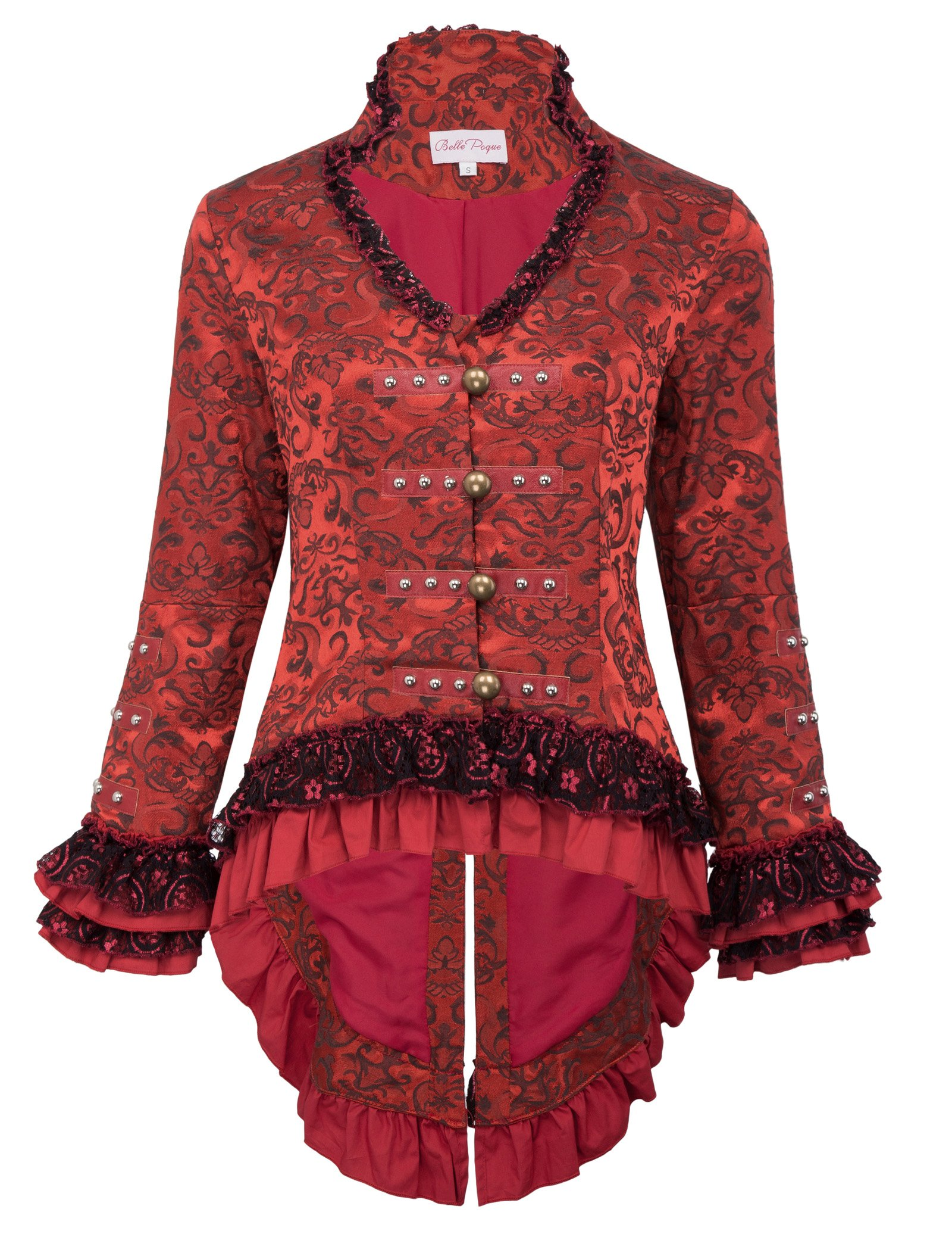 Women's Victorian Steampunk Corset Blazer Jacket with Lacing for Wedding BP223-2 Red Size L