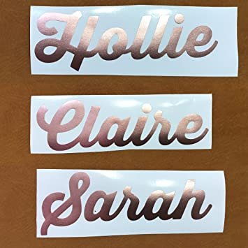 Personalised sticker name label for water bottle glass wedding hen do party rose gold