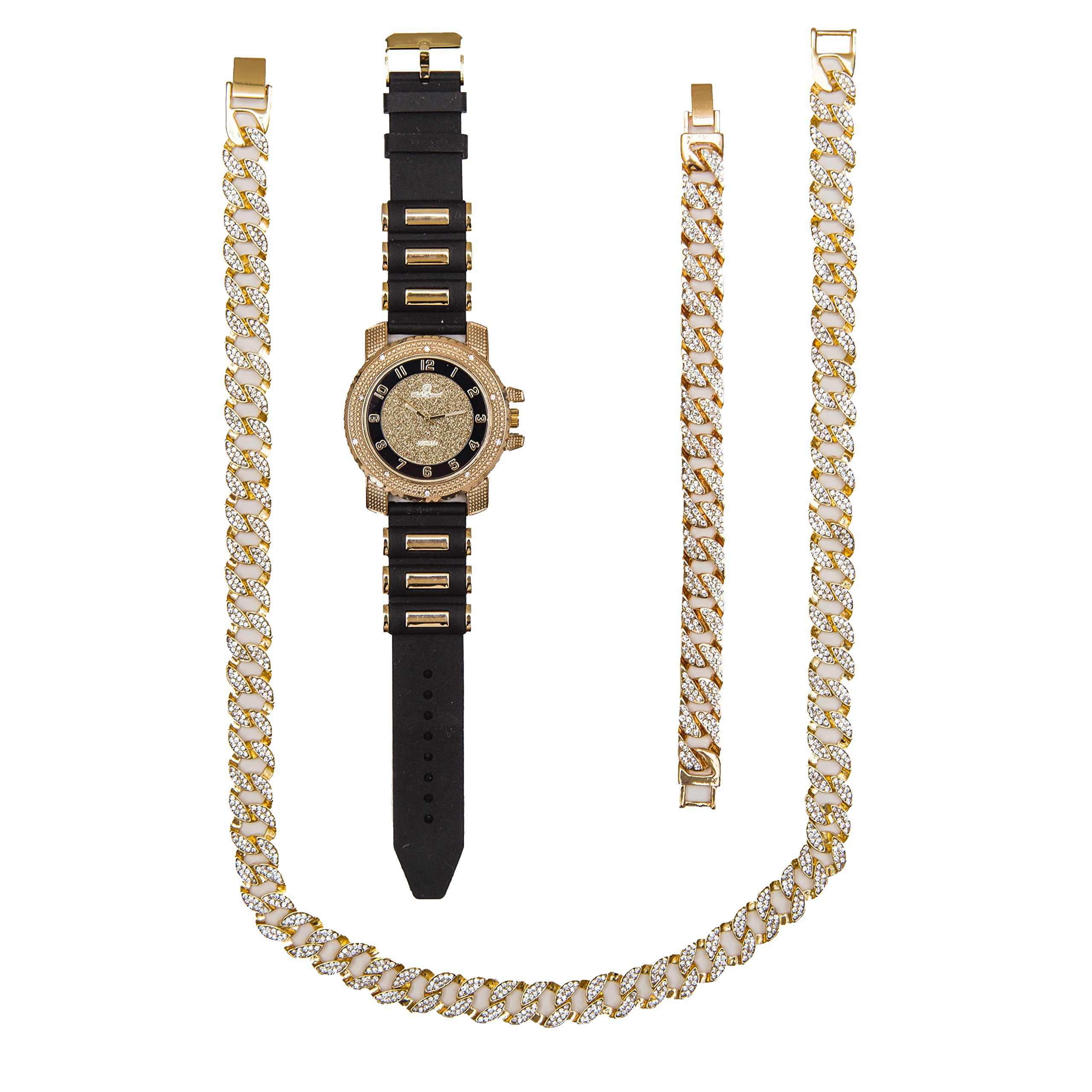 Bling-ed Out Complete Gift Set Hip Hop Unique Interlocking Pattern Gold Cuban Necklace, Bracelet and Bling'd Out Rubber Bullet Band Watch - 7758RBN Black Gold