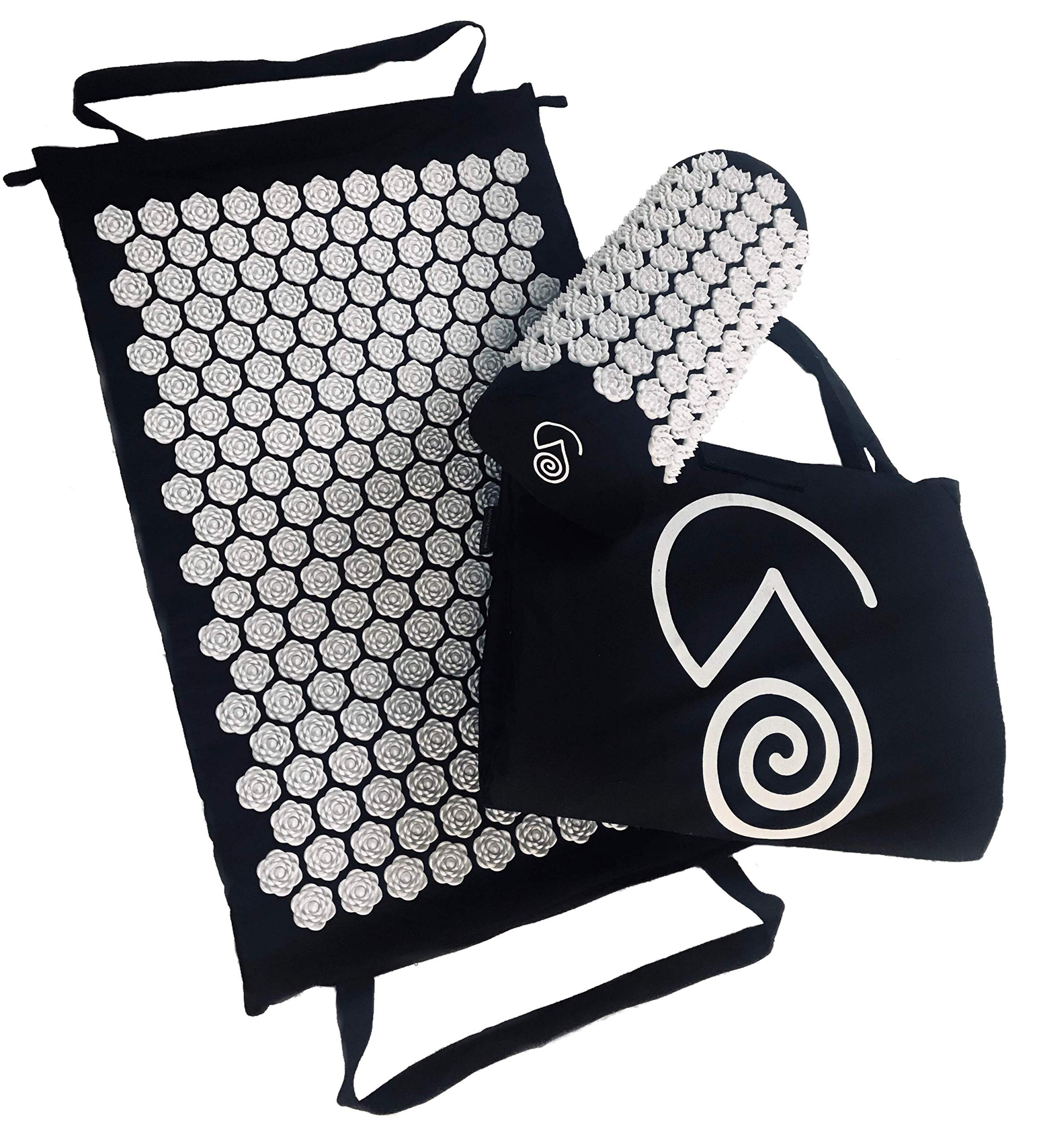 Acupressure Massage Back Mat and Prana Neck Pillow | Organic Eco Cotton Acupuncture Mats by Wellness Collections. Massager Sleep Set for Nerve Pain | Sciatic Relief - Full Body | Hypoallergenic