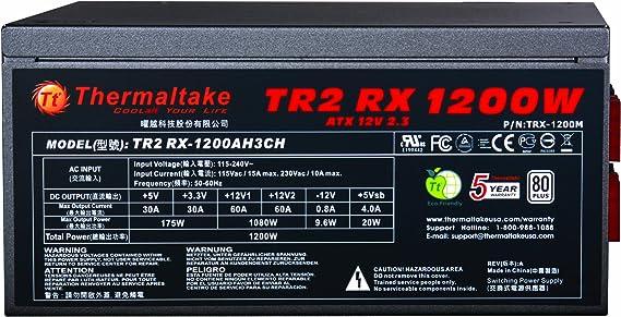 Thermaltake TR2 RX Unidad de - Fuente de alimentación (1200 W, 100-240 V, 50-60 Hz, 10 A, 12V1,+12V2,+3.3V,+5V,+5Vsb,12V, Activo)
