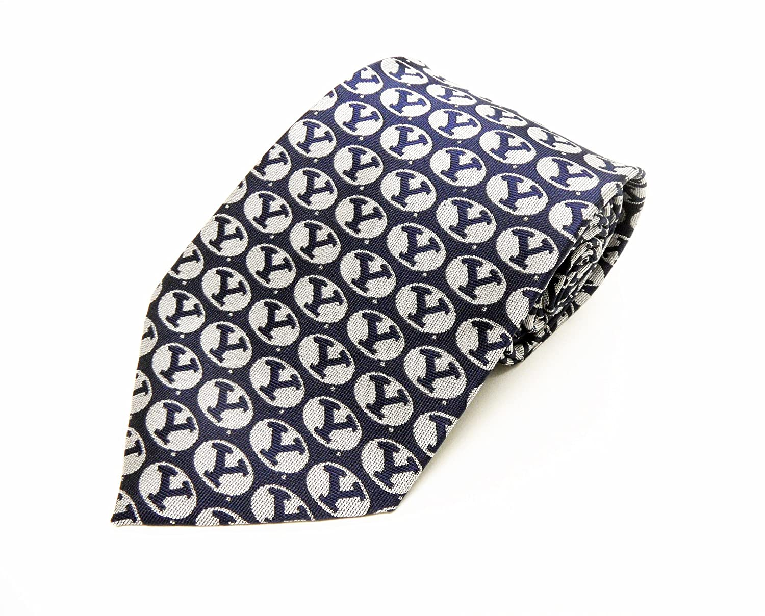 Navy//White NCAA Mens BYU Cougars Repeating Primary Necktie