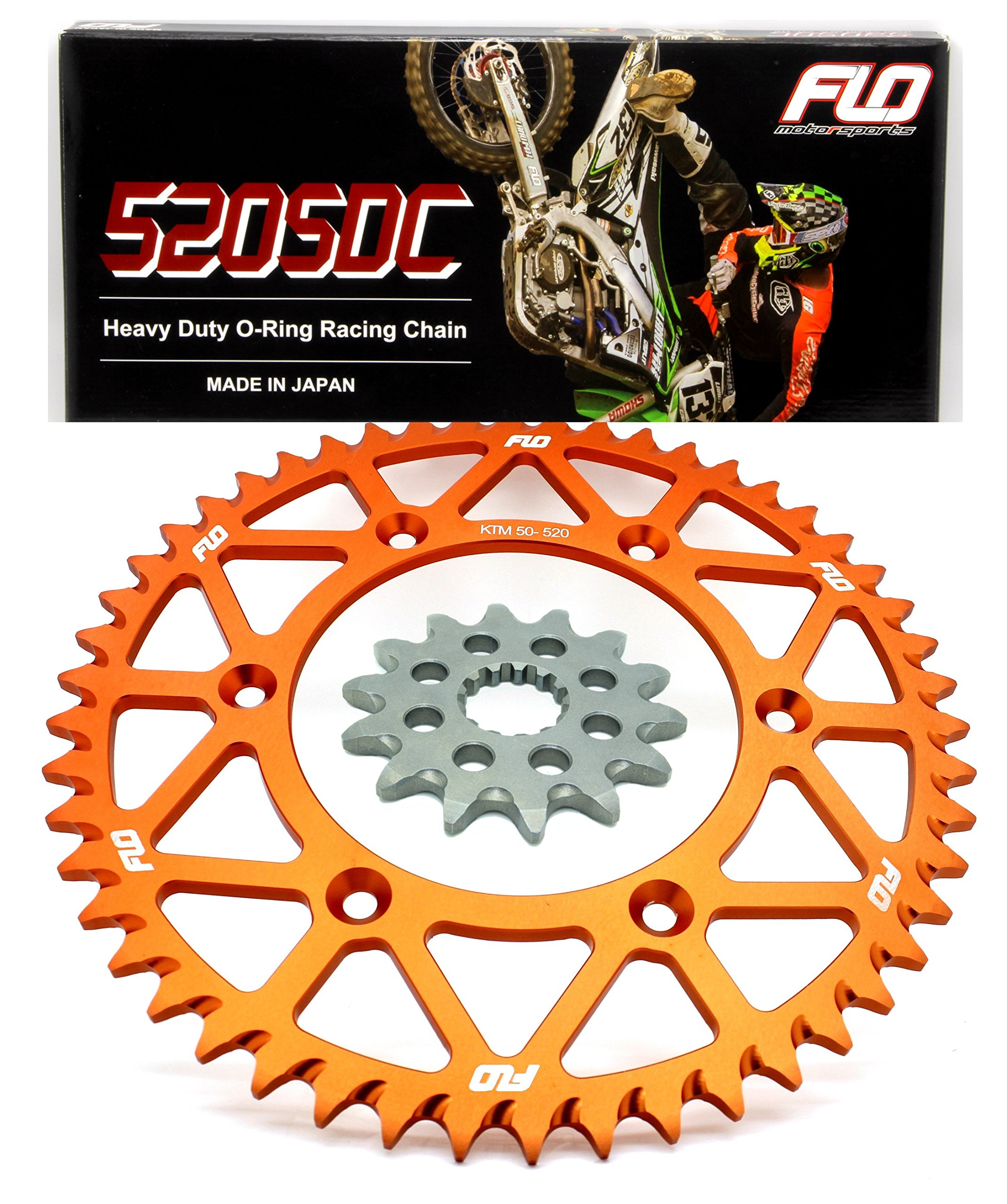 FLO MOTORSPORTS O-RING Combo Kit KTM 125-590cc 14T front sprocket/ 48, 50 & 51 Tooth rear sprocket (51, Orange) by Flo Motorsports