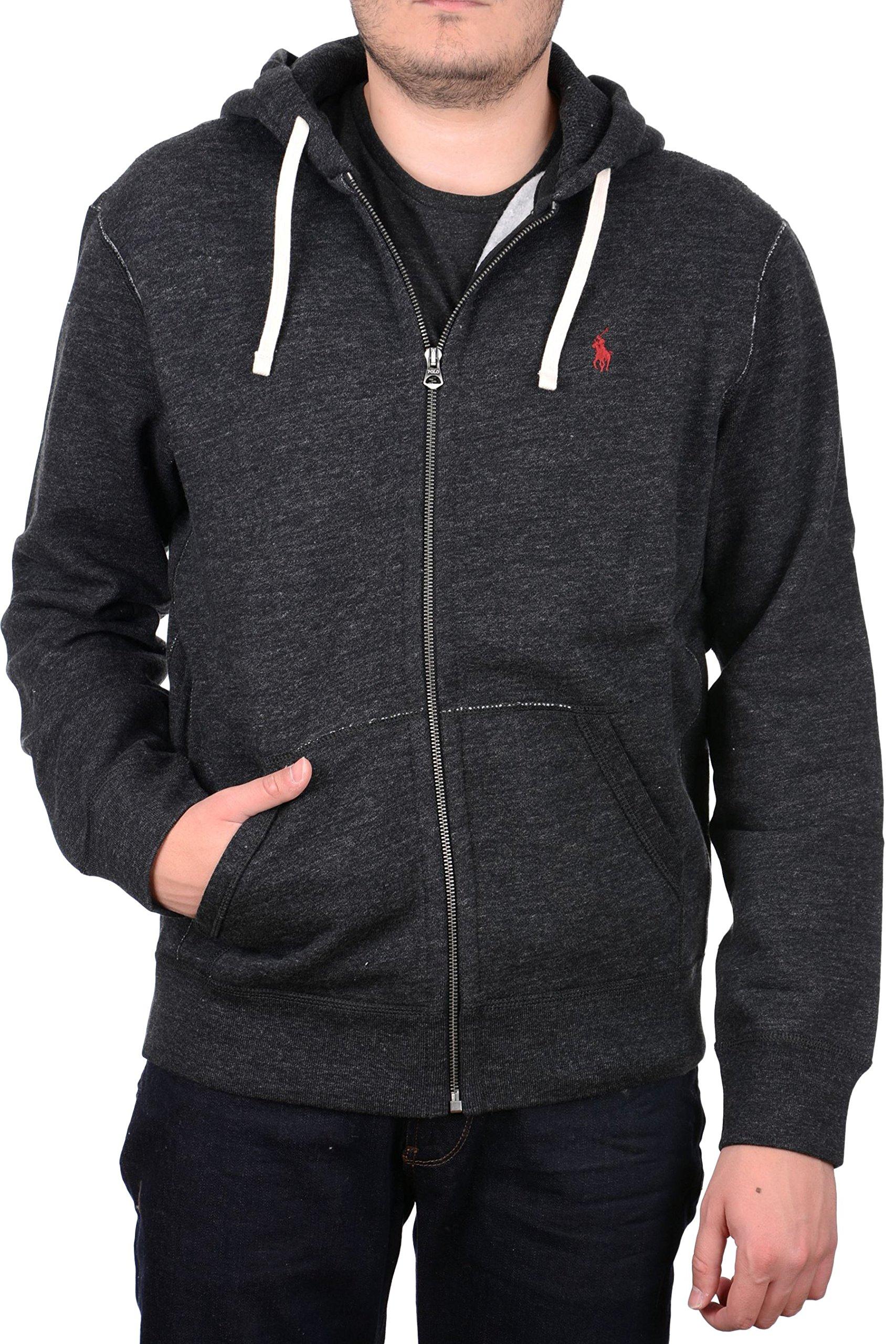 Polo Ralph Lauren Mens Classic Full-Zip Fleece Hoodie (Black Heather, Small)