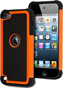 iPod Touch 5 & 6 Case, Bastex Heavy Duty Hybrid Protective Case - Soft Black Silicone Cover with Black and Orange [Shock] Design Case for Apple iPod Touch 5 & 6 [Compatible with iPod Touch 6]