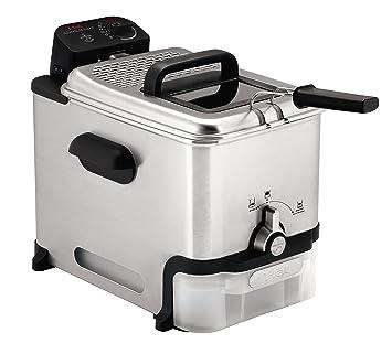 T-fal fr3900 Triple cesta de freidora con extraíble de acero inoxidable y profesional calefacción elemento, 4-liter, acero inoxidable Freidora de aceite de ...