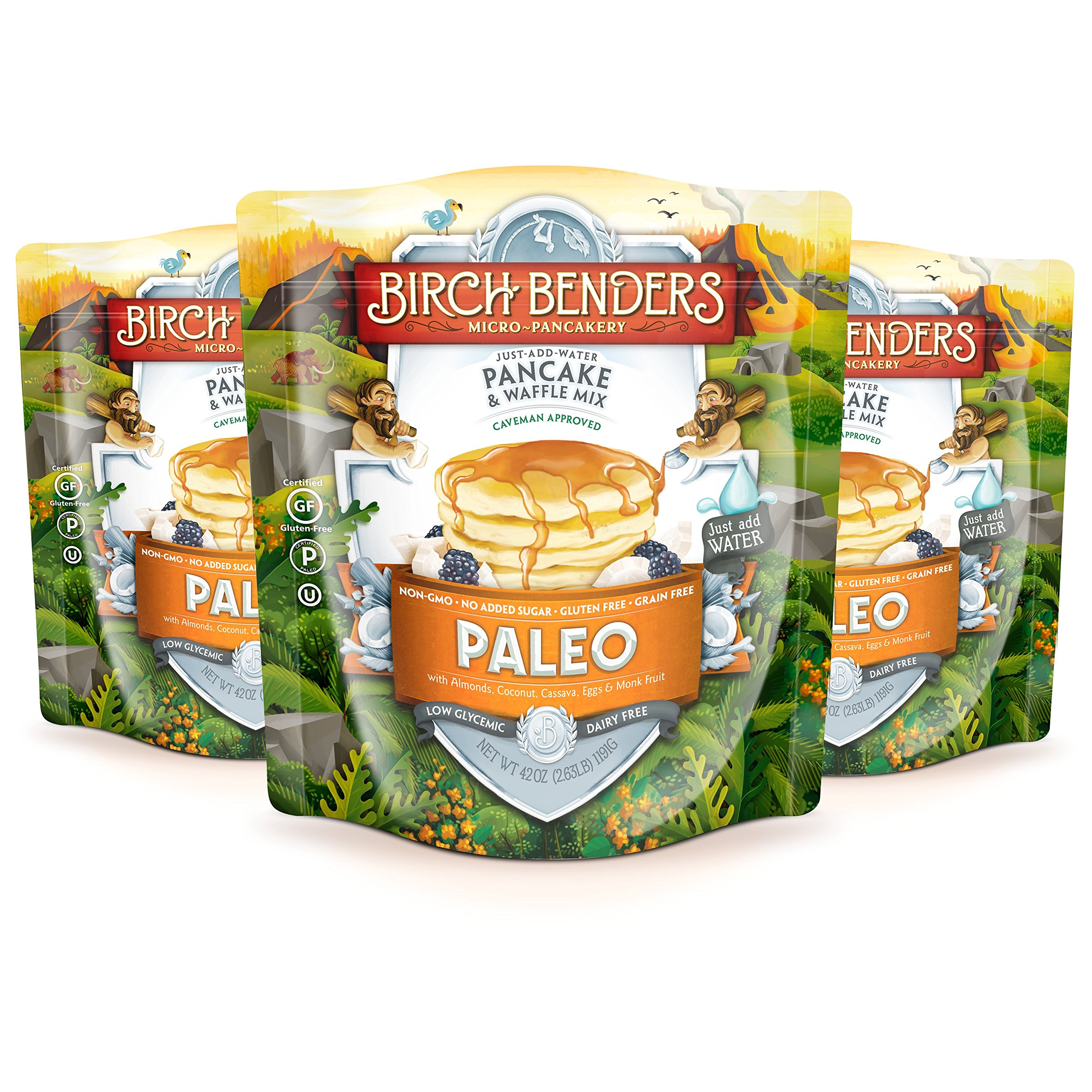 Paleo Pancake and Waffle Mix by Birch Benders, Low-Carb, High Protein, High Fiber, Gluten-free, Low Glycemic, Prebiotic, Made with Cassava, Coconut and Almond Flour, 3-pack (42oz each) by Birch Benders