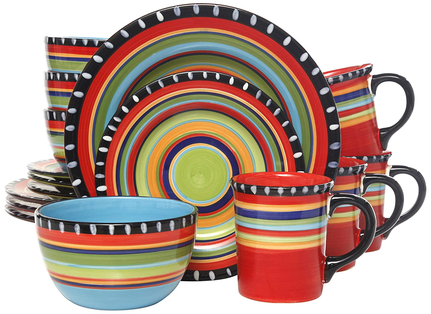 Amazon.com | Gibson Elite Pueblo Springs 16-Piece Dinnerware set Multicolor Dinnerware Sets  sc 1 st  Amazon.com : mexican plate set - pezcame.com