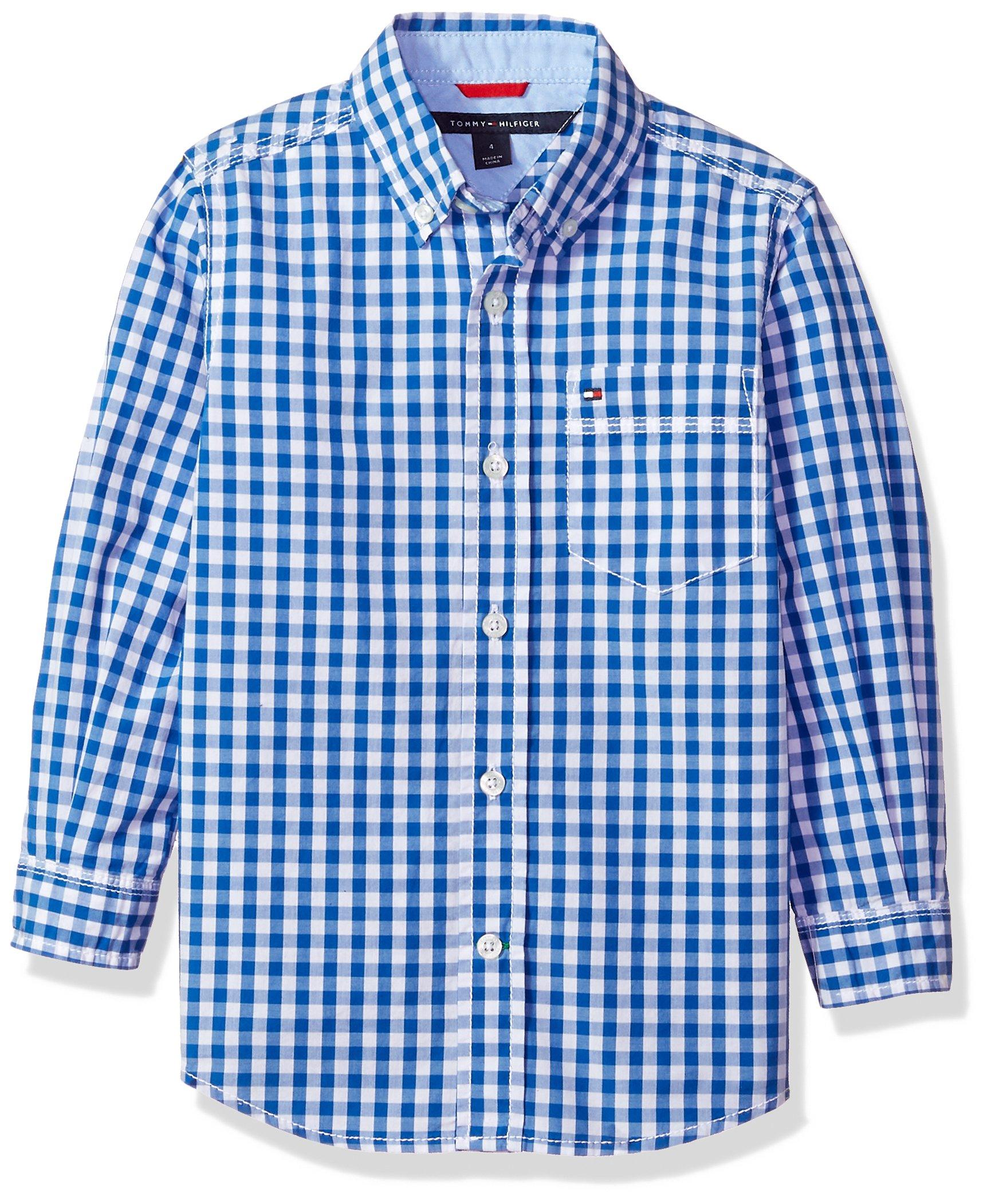 Tommy Hilfiger Big Boys Long Sleeve Baxter Shirt, Blue Jean, S