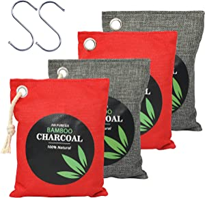 Natural Bamboo Odor Eliminator Home Air Purifying Charcoal Bags, Nature Activated Fresh Purifiers Odor Absorber Bag Pack of 4…