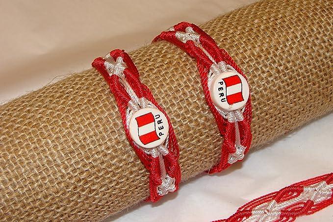 Amazon.com   5 Pulsera de la Amistad Peru Cuenta Ceramica Bandera Rojo y  Blanco Peruano Talla Unica Juego de Cinco   Everything Else 7c75831b50a