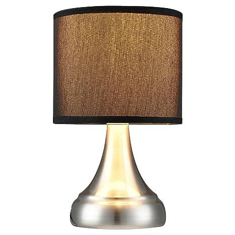 lux.pro] Moderna Lámpara de Mesa - plata/negro (E14 ...