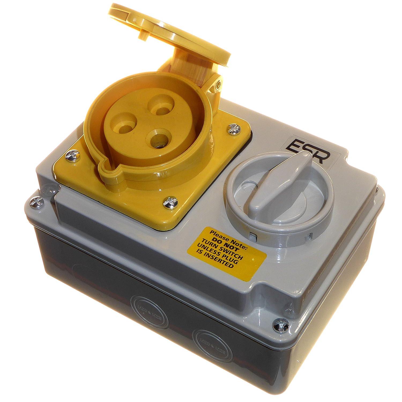 32 Amp 110V 3 Pin Interlock Socket Switched 2P+E 1 Phase Yellow ESR Enterprise