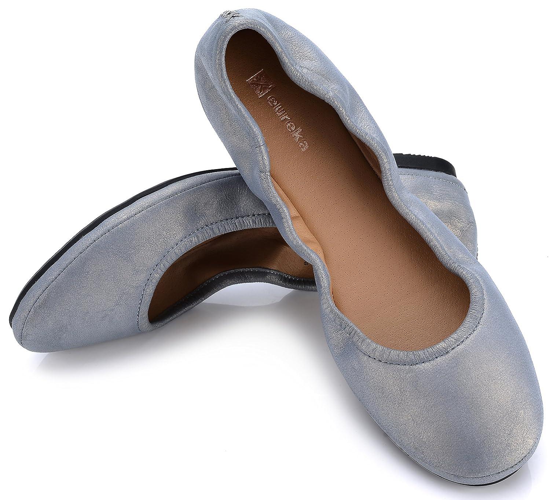 Eureka USA Women's Audrey Leather Ballet Flat B07BZYGX9N 10 B(M) US|517 Antique Pewter