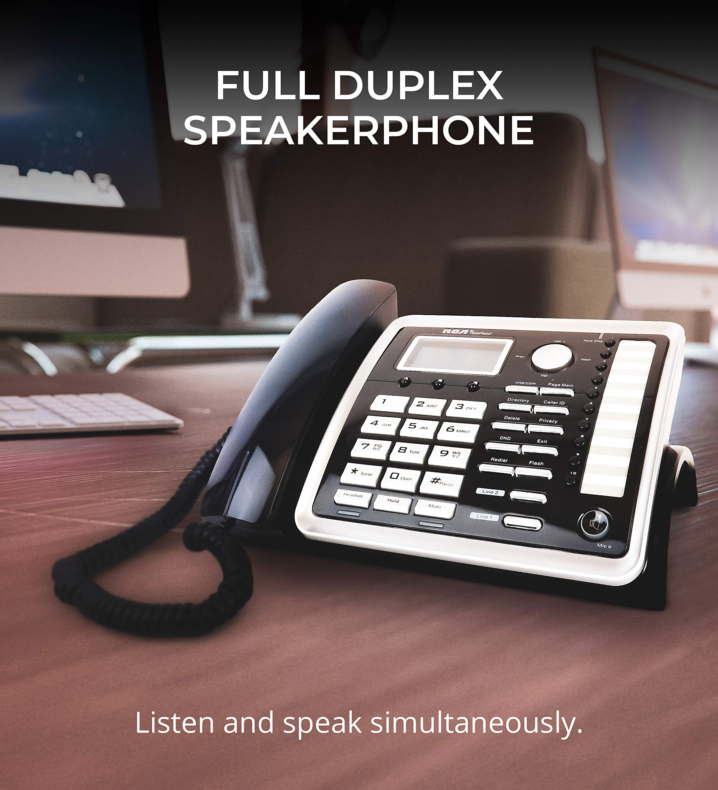 RCA 25260 2-Line Expandable Phone System - Full Duplex Telephone with Built-in Intercom Bundle with RCA 25055RE1 DECT 6.0 Cordless Accessory Handsets (3-Pack) and 6 Blucoil AA Batteries by blucoil (Image #8)