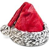 Soft Plush Festive Animal Print Santa Hat 17inch Grey