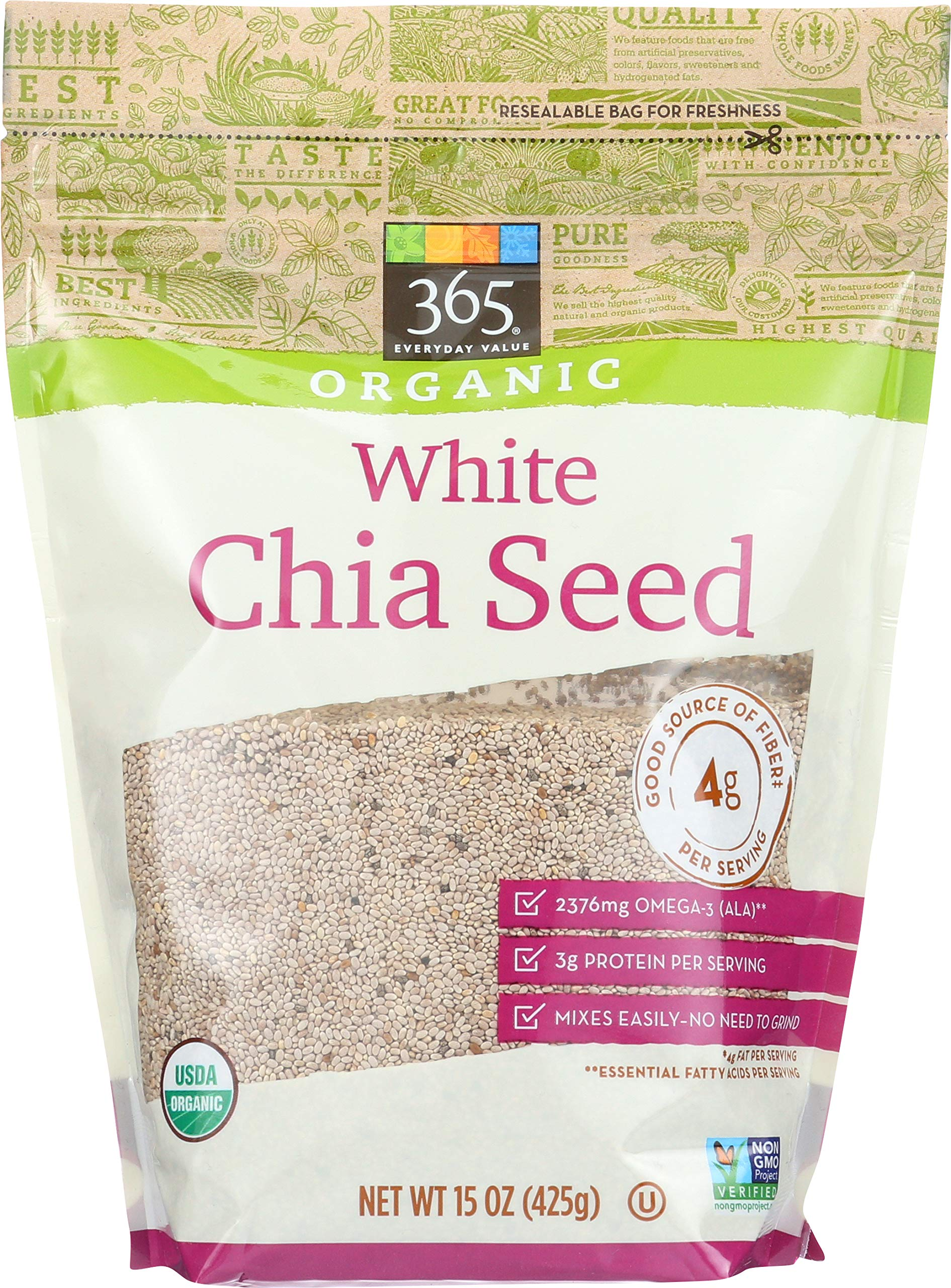 365 by Whole Foods Market, Organic Seeds, White Chia, 15 Ounce