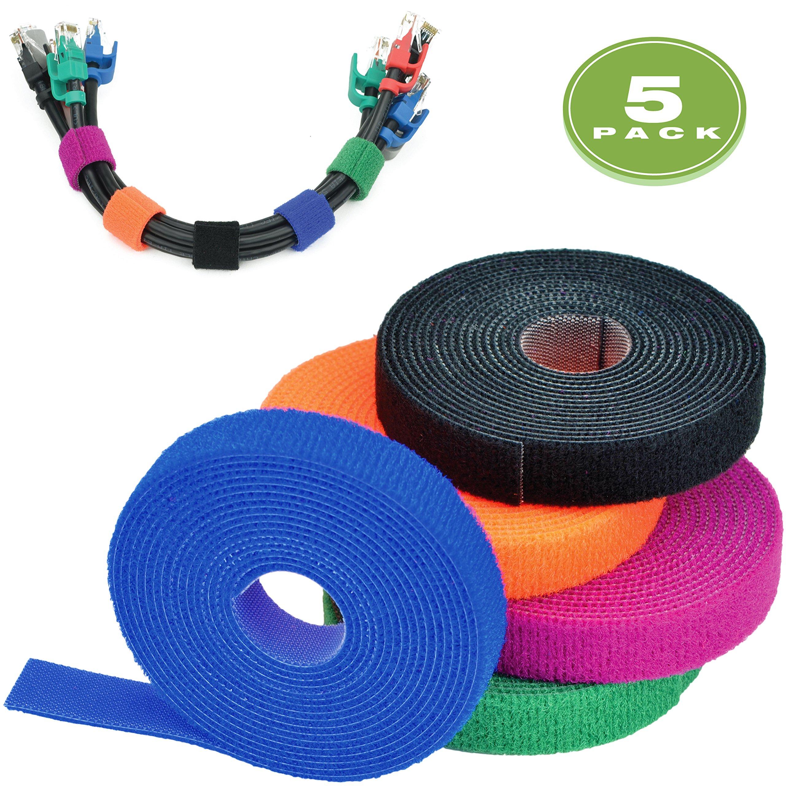 Mediabridge Cable Management Straps Multicolor 5-Pack (8 Feet) - 20MM Width - Adustable & Reusable (Part# CM5-20-08X5M )