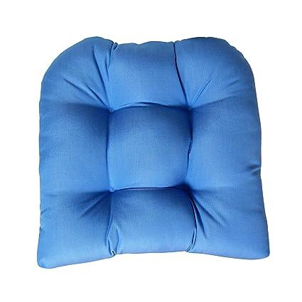 Amazon.com: Sunbrella lona azul silla de mimbre cojín de ...