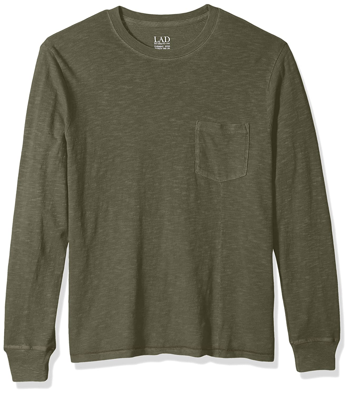 Life After Denim Mens Long Sleeve Slim Fit Cotton Slub Club Crew Neck T-Shirt
