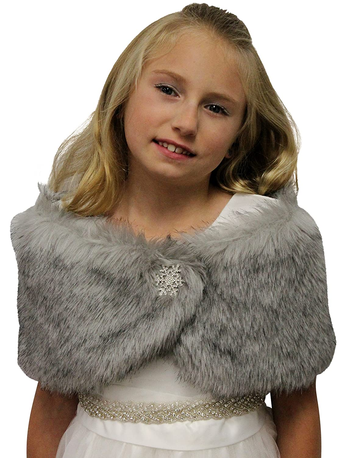 Faux Fur Wedding Wrap Flower Girl Grey Chinchilla Size Small Tion Bridal 306NF-FG-GREY-S