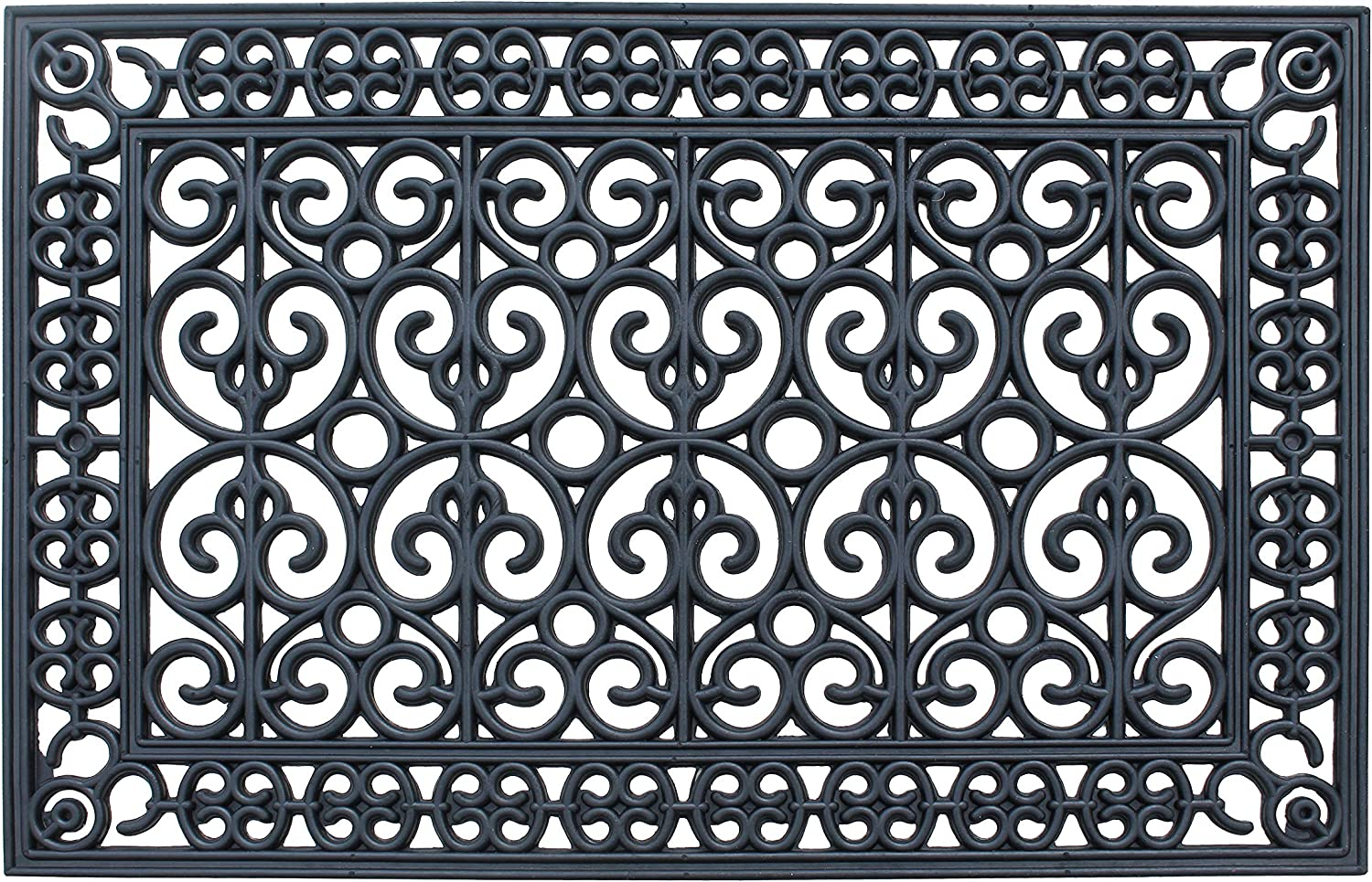 """A1 Home Collections A1HCCL67 First Impression Rubber, Beautifully Hand Finished, Doormat, 24"""" L X 36"""" W, Black Paisley 24"""" X 36"""""""