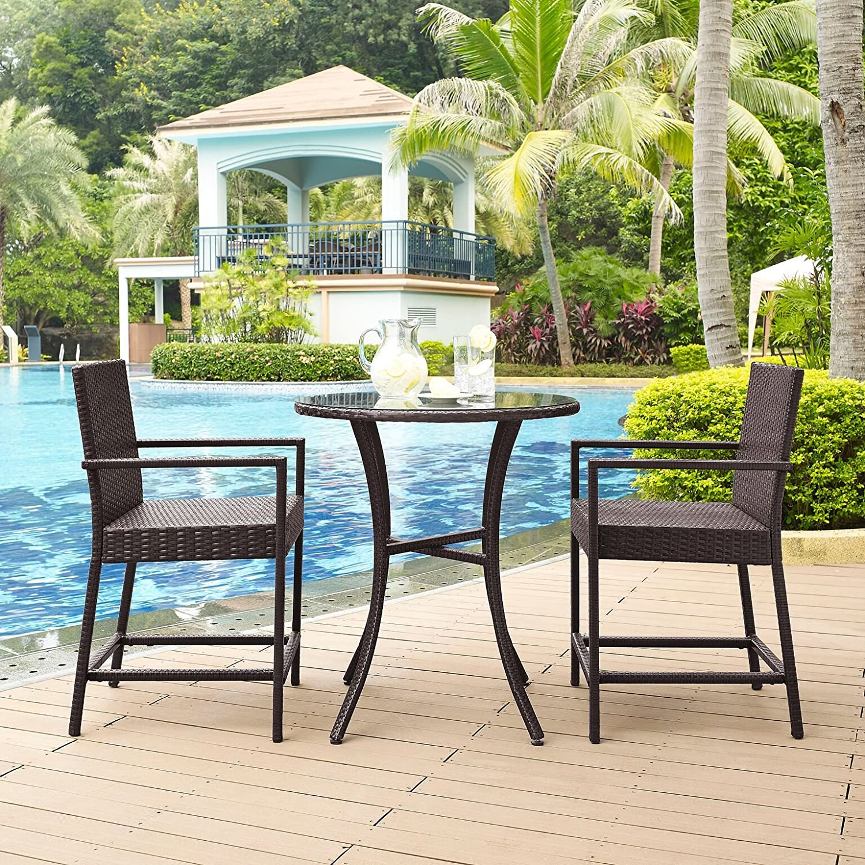 Brown Crosley Furniture Palm Harbor 3-Piece Outdoor Wicker Bistro ...