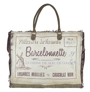 Bolso de compra señora Sunsa Vintage Bolso de hombro bolso de mano hecho de tela / tela con cuero 51791: Amazon.es: Equipaje