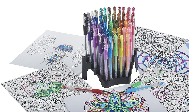44-Count ELR-50112 ECR4Kids GelWriter Gel Pens Set Premium Multicolor in Stadium Stand