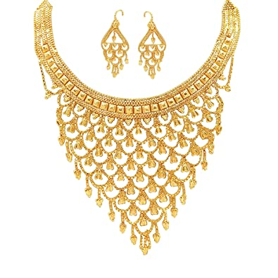 ba58f52576028a Buy Mansiyaorange Real Look Party Golden Necklace Sets for Women(6 INCH  Long) Online at Low Prices in India | Amazon Jewellery Store - Amazon.in
