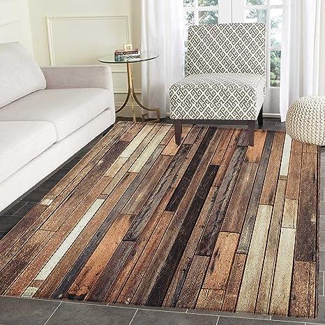 Amazon.com: Wooden Area Rug Carpet Brown Old Hardwood Floor ...