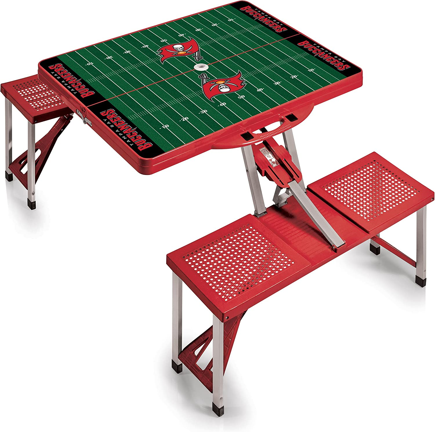 NFL Tampa Bay Buccaneers Football Field Design Portable Folding Table/Seats, Red