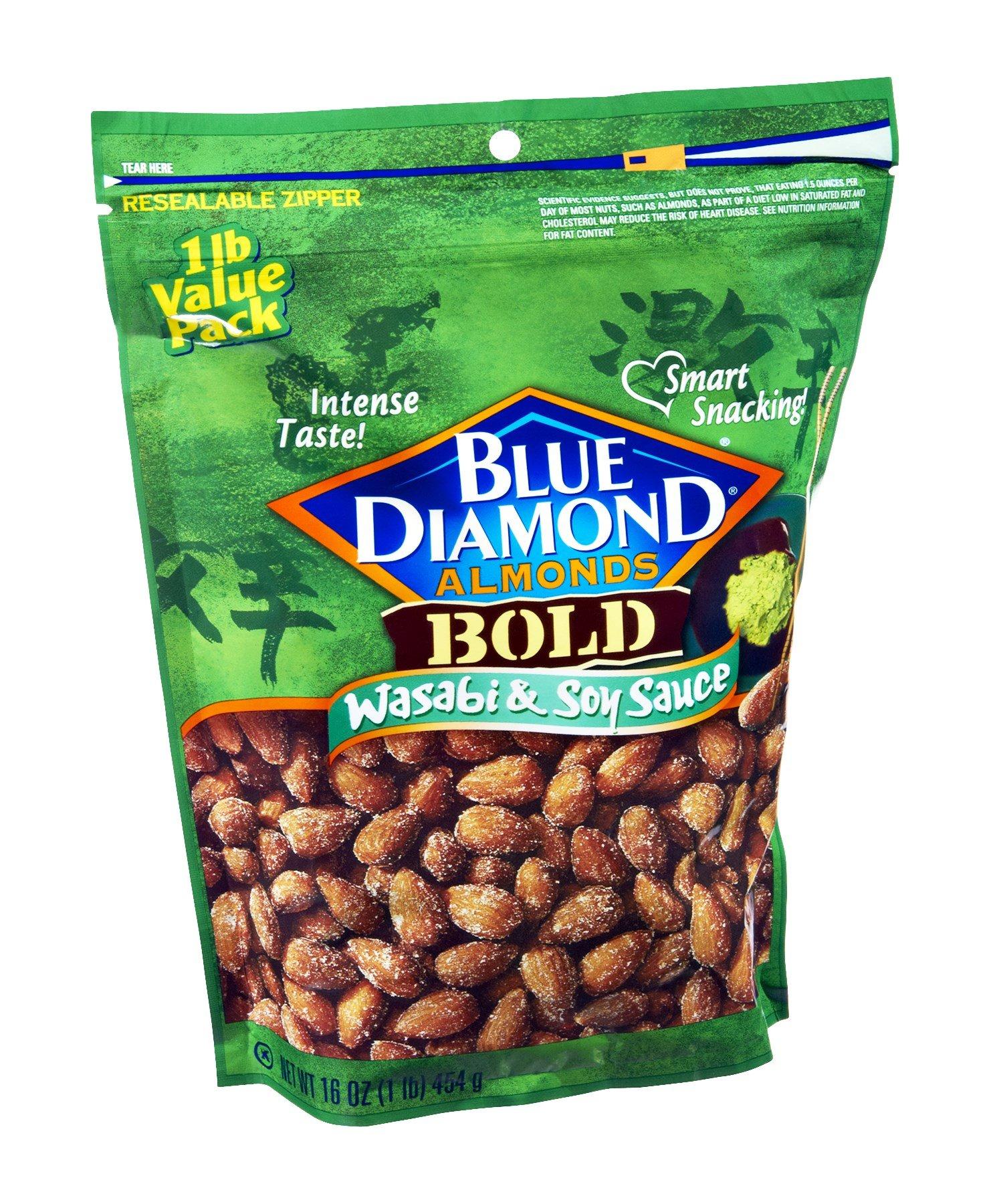 Blue Diamond Bold Wasabi & Soy Sauce Almonds 16 OZ (Pack of 12)