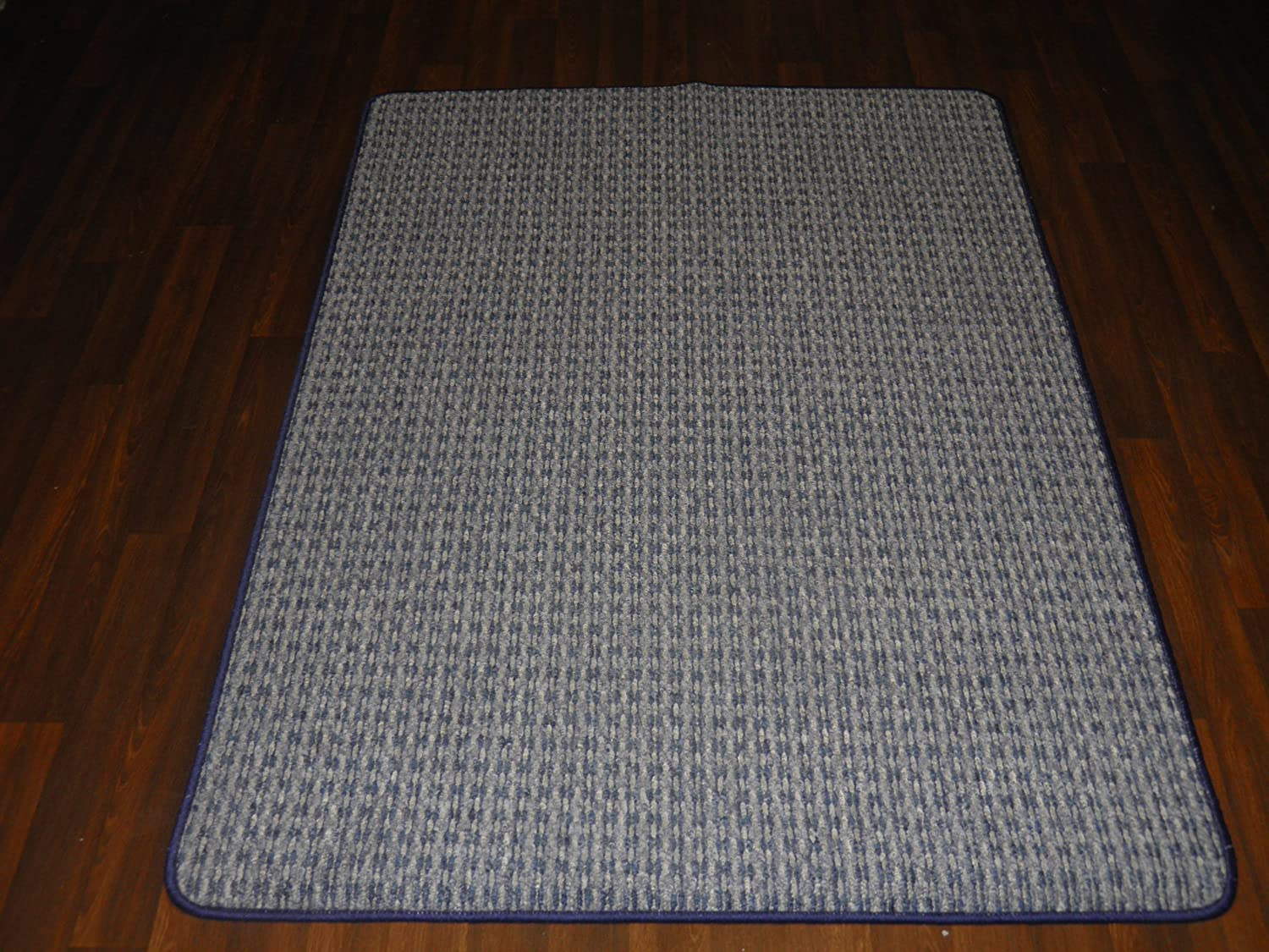 Non Slip Striped Washable Kitchen Utility Caravan Top Quality Runner And Door Mat Set 147cm x 89cm And 65cm x 48cm In Blue Rug