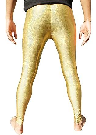 df0b1fc4 Holographic Gold Men's Leggings Meggings Men's Compression Tights Festival  Pants EDM Clothing Hologram Glitter Clothes XS