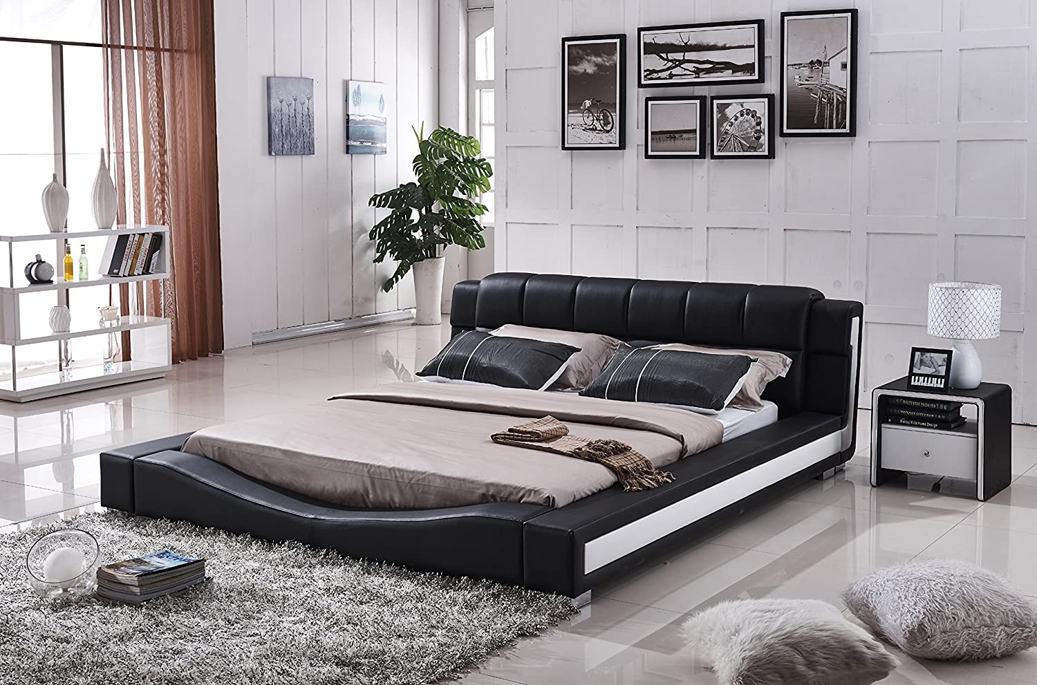 Platform Bed with Padded Headboard, Black/White