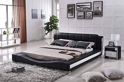 US Pride Furniture B8067 CK Bonded Leather Contemporary Platform Bed,  California King, Black