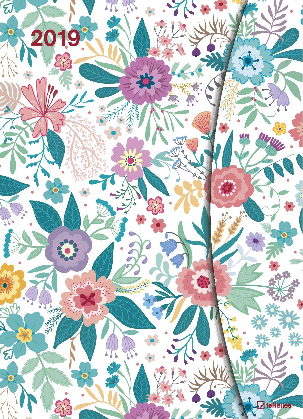 Flowers 2019 - Taschenkalender, Magneto Diary Large, Buchkalender, Wochenplaner  -  16 x 22 cm