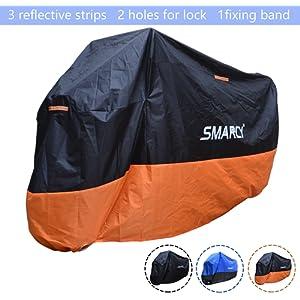 SMARCY® Housse de Protection pour Moto XXL / Noir et Orange