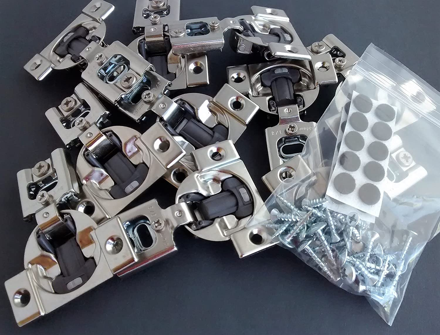 10 Pcs (Five Pairs) Soft Close Blum Blumotion Screw On Hydraulic Compact Hinge - 38N SERIES 105 deg 3/8 IN OVERLAY WITH SCREWS