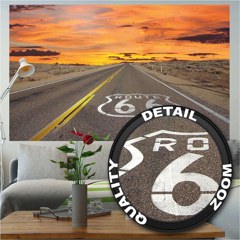 GREAT ART XXL Póster – Route 66 – Americano Autopista Desde Chicago hasta California EE.UU. Mural Vacaciones Puesta Desierto USA Cartel De Pared Foto Y Decoración 140 x 100 cm