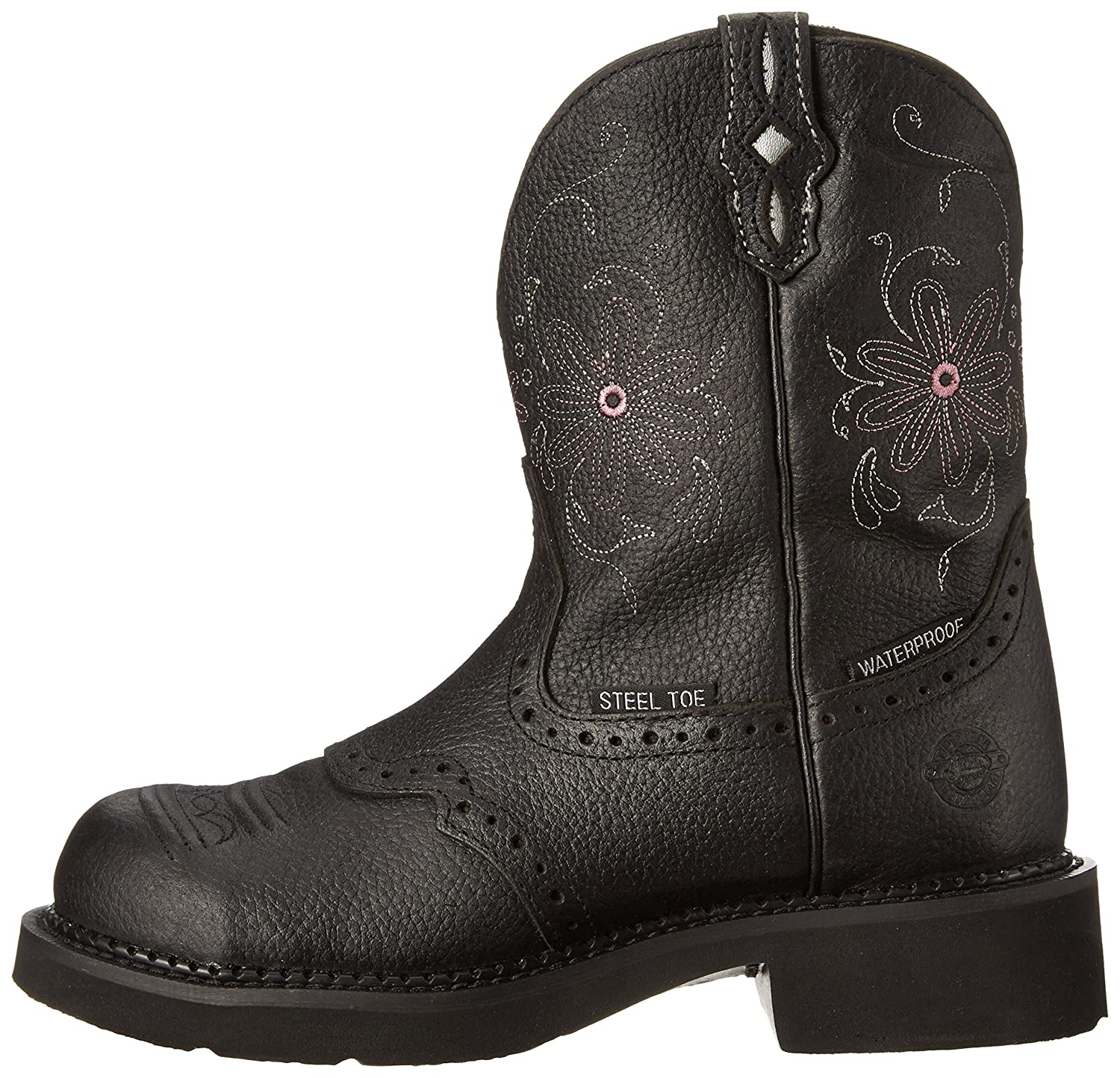 Justin Boots Women's Gypsy Collection Round-Toe Western Boot - 8 inch B00A6DRM8E 6.5 B(M) US|Black Pebbled Grain