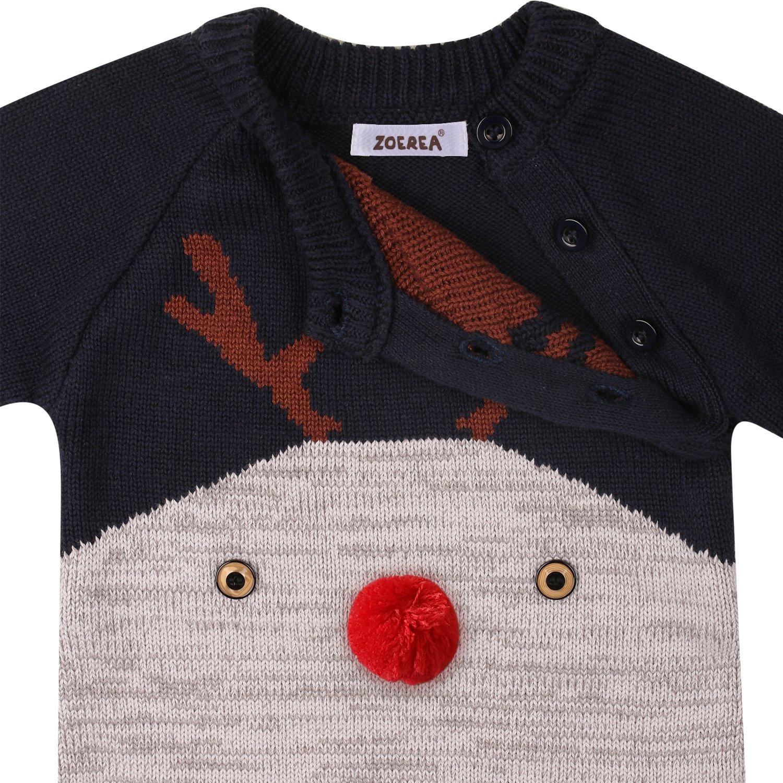 3288d0d2df Zoerea Neugeborenes Baby Mädchen Junge Strick Strampler Watte Weihnachten  warme Pullover mit Hut Elch Hirsche Clown Muster für die Saison Frühling,  ...