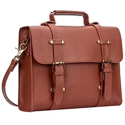 Women's PU Leather Laptop Bag Tote Messenger Bag Crossbody Satchel Briefcase Handbag (Tan)