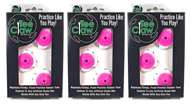 Tee Claw ゴルフトレーニング 補助キット、人工芝ティーホルダーとトレーニング補助 (コンプリート3セット)  ピンク/ホワイト B01MYFB2PB