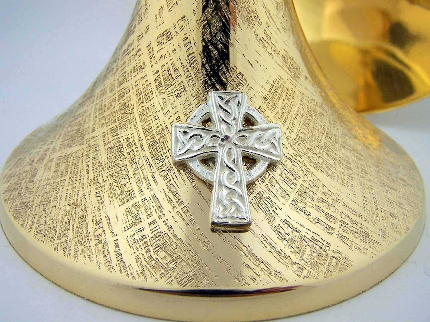 8 1//4 Inch Celtic Brass Chalice and Paten Set